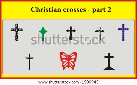 set of various vintage christian crosses, symbols of faith and religion - vectors part 2 - stock vector