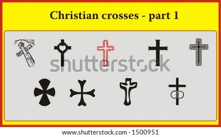 set of various vintage christian crosses, symbols of faith and religion - vectors part 1 - stock vector