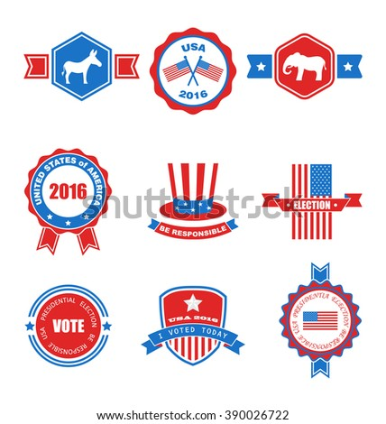 Set of Various Voting Graphics Objects and Labels, Emblems, Symbols, Icons and Badges for Vote USA. Templates and Design Elements. Isolated on White Background - Vector - stock vector