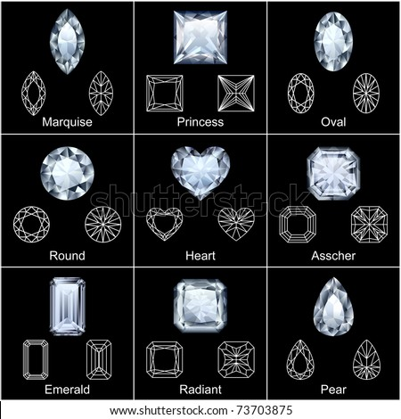 Set of variously shaped realistic diamonds - vector - stock vector