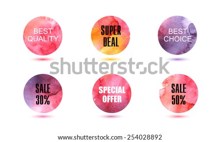 Set of vector abstact watercolor circles, signs, badges, elements to use for banners, flyers, covers and design.  - stock vector