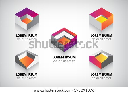 set of vector abstract colorful geometric 3d icons, logos - stock vector