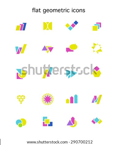 Set of vector abstract flat logo with arrows, letters, triangles, diagrams, circles, stars, text boxes. Geometric icons. Good for any business or industry company identity. Company insignia design. - stock vector
