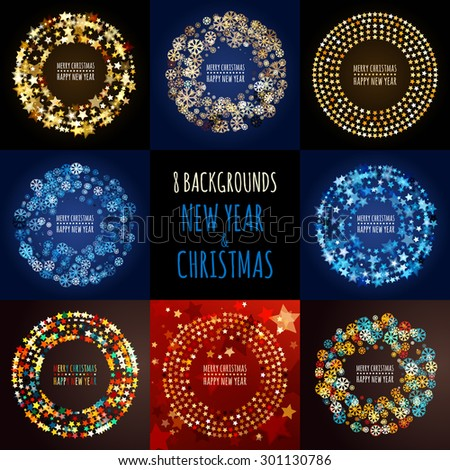 Set of vector abstract holiday backgrounds. Round frame from abstract multicolor glowing stars and snowflakes. Christmas, New Year 2016 greeting card, night party invitation, flyer, poster design. - stock vector
