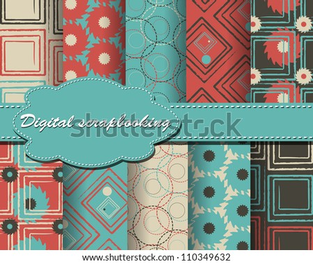 set of vector abstract paper for scrapbook