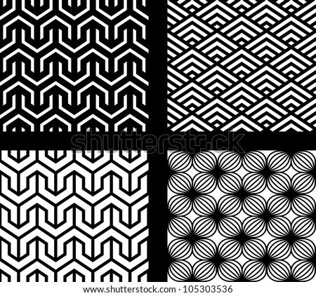 Set of 4 vector abstract seamless patterns - stock vector