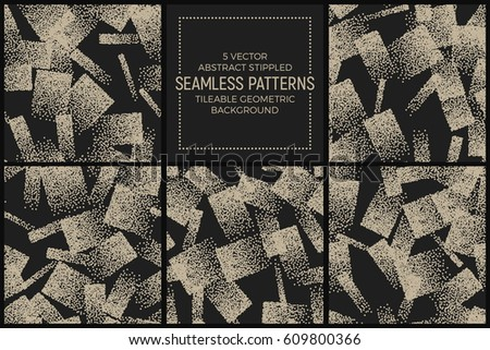Set of 5 Vector Abstract Stippled Seamless Patterns. Handmade Tileable Geometric Dotted Grunge Background