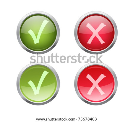 Set of vector accept and decline buttons with pushed variants - stock vector