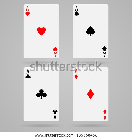 Set of vector ace playing cards - stock vector