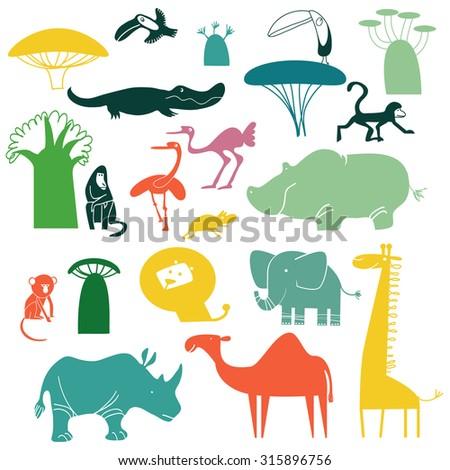 set of vector African animals - stock vector