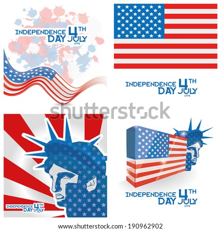 Set Of Vector American Independence Day Background Templates Editable - stock vector
