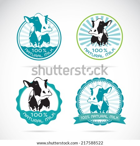 Set of vector an dairy cows label on white background - stock vector