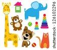set of vector animals toys - stock vector
