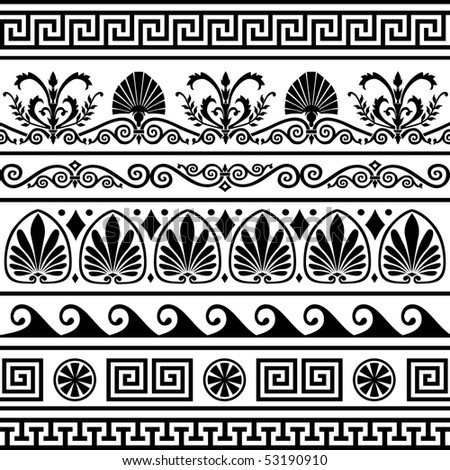 Set of vector antique greek borders - stock vector