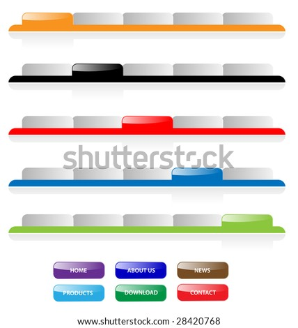 Set of vector aqua web 2.0 site navigation tabs and buttons. Perfect for adding text. Easy to edit, any size. - stock vector
