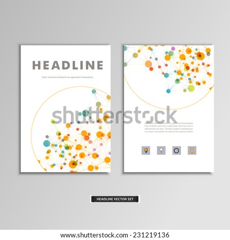 Set of vector artwork with molecular background. - stock vector