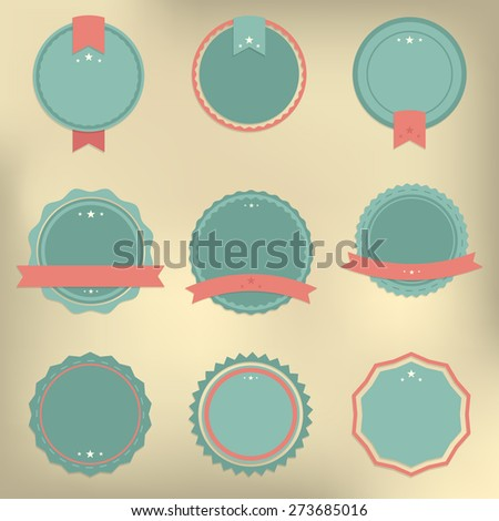 Set of vector badges in retro, vintage style on the light brown creme background - stock vector