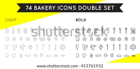Set of Vector Bakery Pastry Elements. Thin and Thick Set