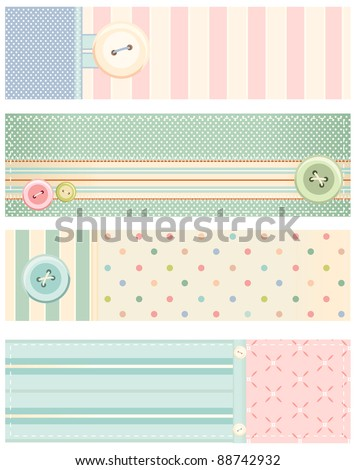 Set of vector banners in shabby chic style - stock vector