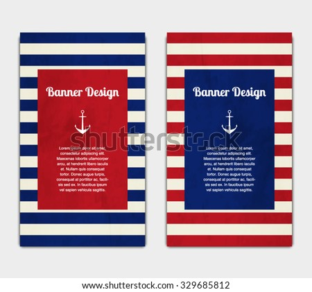 Set Vector Banners Template Nautical Marine Stock Vector 329685812