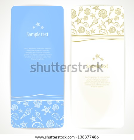 Set of vector banners with seashells. - stock vector
