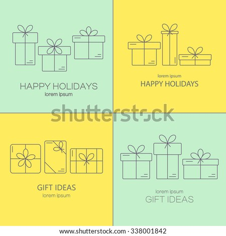 Set of vector banners with thin line icons of gift boxes. Concept for gift wrapping, cards, celebrations logo.