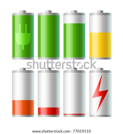 set of vector battery icons with level of charge - stock vector