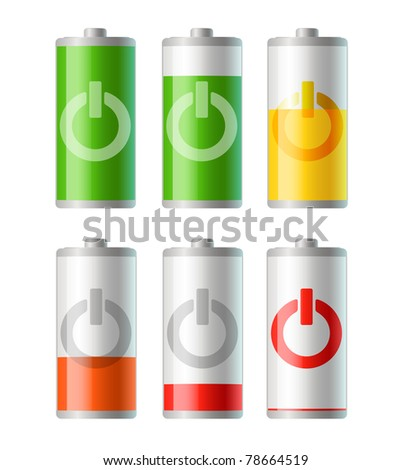 set of vector battery icons with level of charging. EPS 10. - stock vector