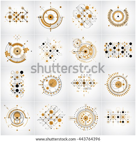 Set of vector Bauhaus abstract yellow backgrounds made with grid and overlapping simple geometric elements, circles and lines. Retro style artworks, graphic templates for advertising poster.