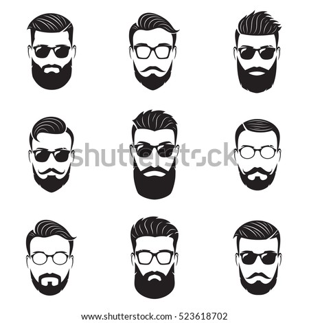 Set of vector bearded men faces, hipsters with different haircuts, mustaches, beards. Hipster silhouettes, emblems, icons, labels.