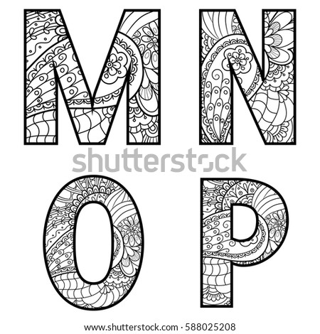 Set vector big letters pattern doodle stock vector 2018 588025208 set of vector big letters with pattern doodle letter m n o thecheapjerseys