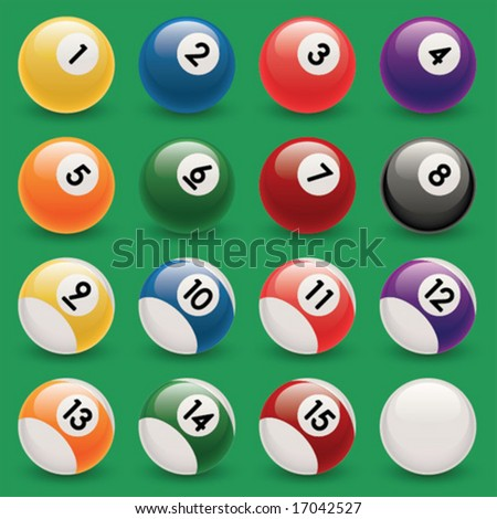Set of vector billiard balls. - stock vector