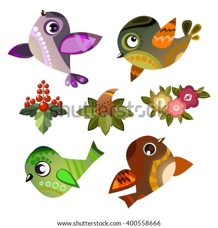 set of vector birds, funny bird on transparent background