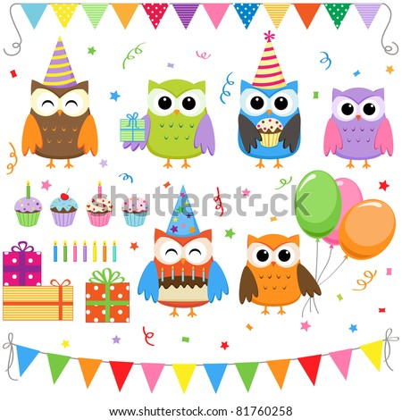 Set of vector birthday party elements with cute owls - stock vector