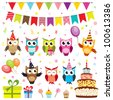 Set of vector birthday party elements with owls - stock vector