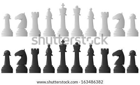Set of vector black and white chess pieces. - stock vector