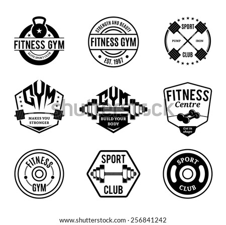 Set of Vector Black and White Gym and Fitness Logotypes, Labels and Badges Isolated on White - stock vector