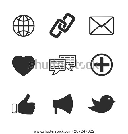 Set of vector black and white web social communication network twitter facebook icons including like bird link chat heart mail loudspeaker globe silhouette isolated on white  - stock vector