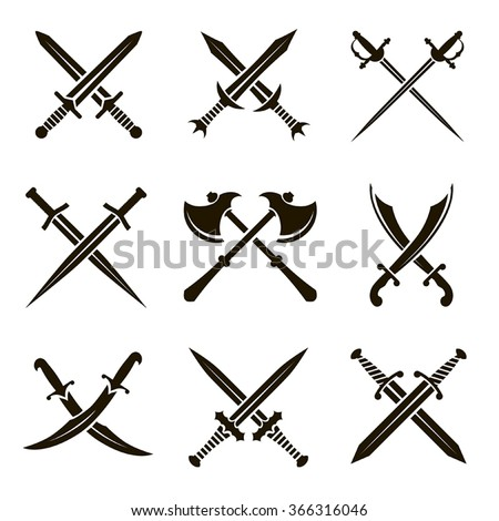 Set of vector black heraldic swords, sabers, rapiers, axes on a white background - stock vector