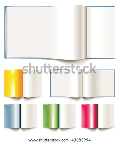Set of vector blank books, brochures or magazines opened - stock vector