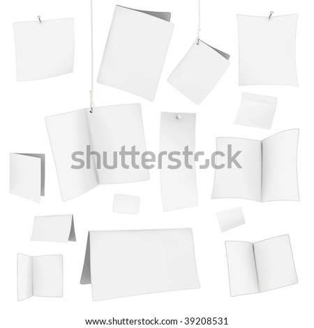 set of vector blank white cards 06 - stock vector
