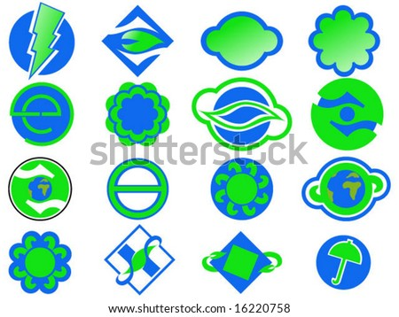set of vector blue and green logo symbols - stock vector