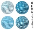 Set Of Vector Blue Spheres - stock vector