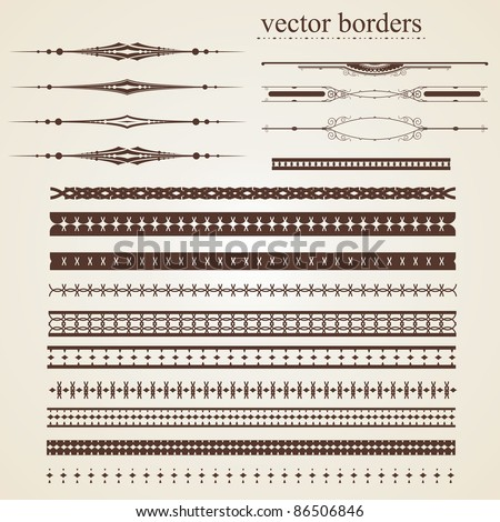 Set of vector borders for design - stock vector