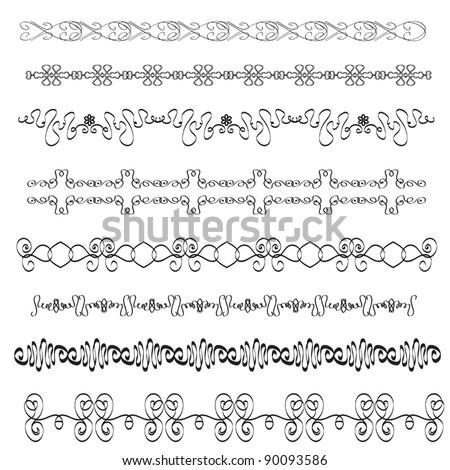 Set of vector borders for design - stock vector