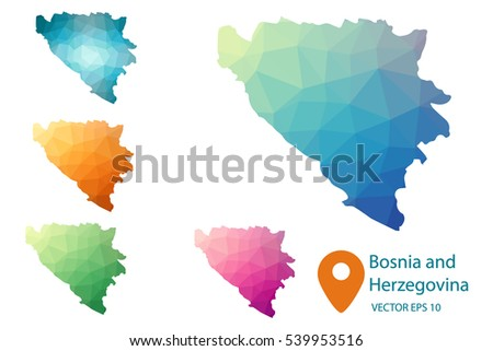 Set of vector Bosnia and Herzegovina maps. Bright gradient map of country in low poly style. Multicolored country map in geometric style for your infographics. Vector illustration eps 10.