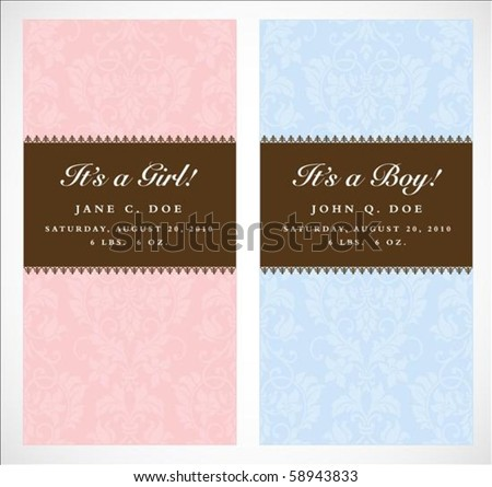 Set of vector boy and girl frames with sample text. Perfect as announcements. Background pattern is included as seamless swatch. All pieces are separate. Easy to change colors and edit. - stock vector