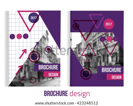 Set of Vector brochure cover templates with blured city landscape.
