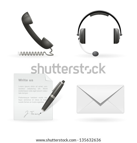Set of vector business contact isolated icons - stock vector