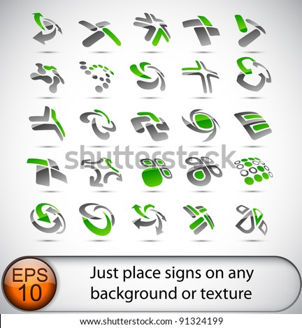 Set of vector business green abstract signs. - stock vector